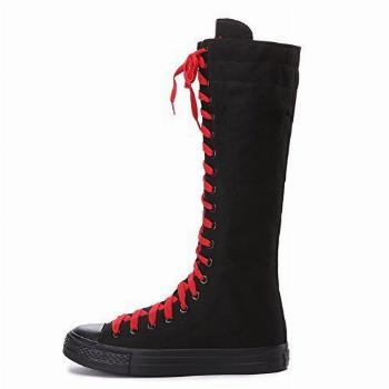 ANUFER Girls Women Fashion Knee High Lace-Up Canvas Boots