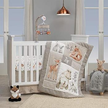 Lambs & Ivy Painted Forest 4-Piece Crib Bedding Set - Gray,