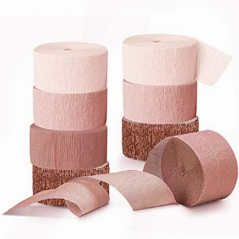 NICROLANDEE Wedding Party Supplies - 8 Rolls Rose Gold Crepe