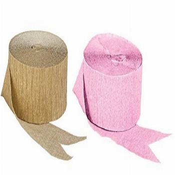Pink and Dark Metallic Gold Crepe Paper Streamers; Made in
