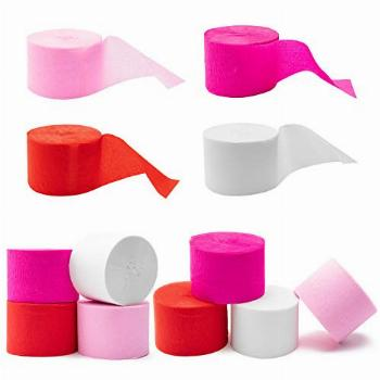 R HORSE 12 Rolls 82ft Pink Crepe Paper Streamers Pink Red