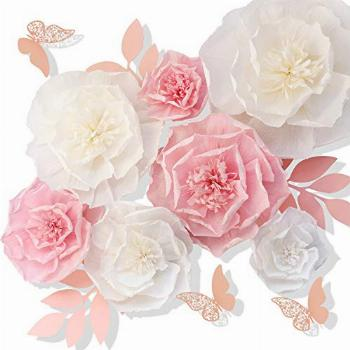 Tissue Paper Flower Pink White Set of 13 Craft Crepe Wall