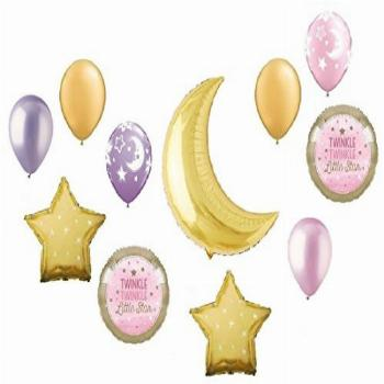 Twinkle Twinkle Little Star Gold Crescent Moon Girl Pink