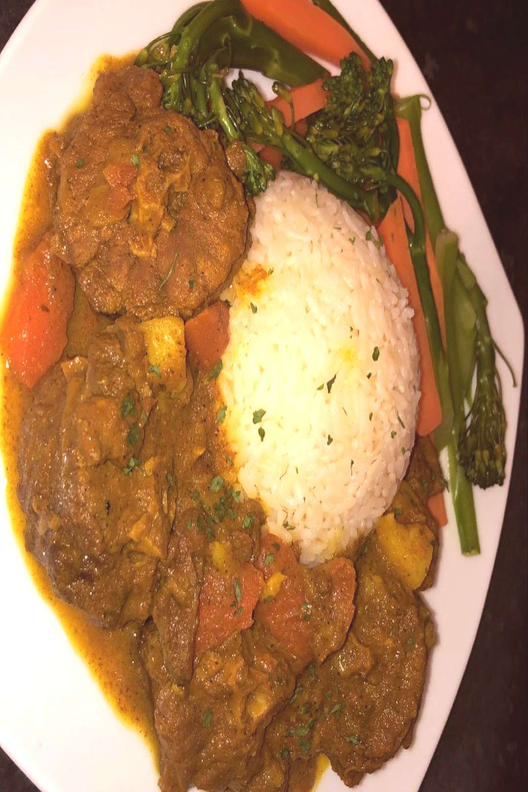 Curry Turkey Neck With White Rice amp Steamed Veggies ..... Curry i