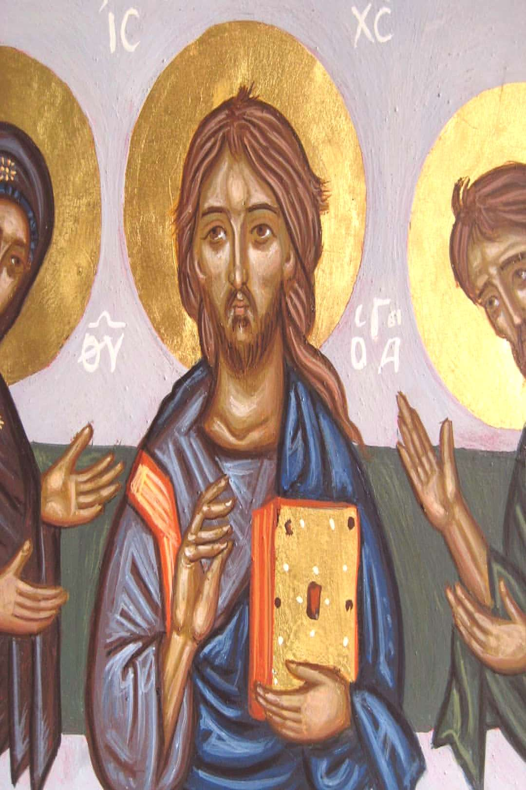 Deisis icon. Christ in the middle while Holy Mother and the Bapti