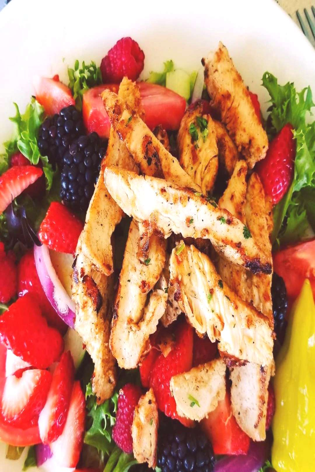 I think my new favorite salad. Grilled seasoned Chicken over roma