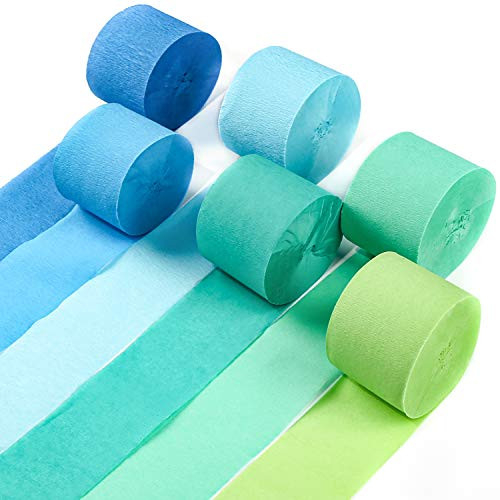 PartyWoo Crepe Paper Streamers, 6 pcs 82ft Green Streamers