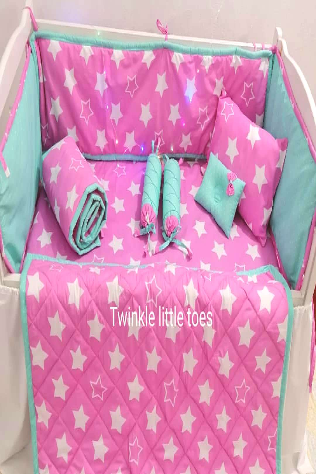 Pink girl theme set of 10 pieces including 4 bumpers 2 neckrolls